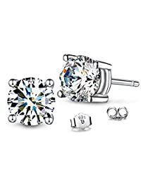 T400 Jewelers 925 Sterling Silver Unisex Cubic zirconia Stud Earrings Mother's Day Gift