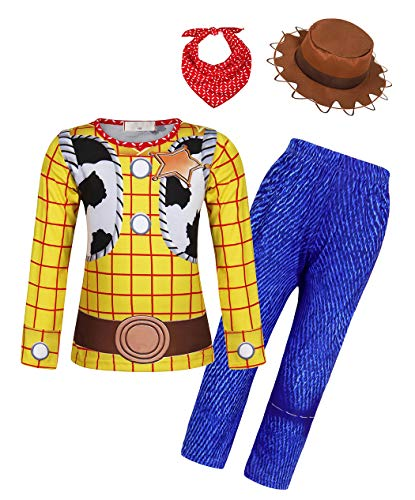 Halloween Dress Up For Work (HenzWorld Boys Girls Jessie Halloween Costumed Dress Up Clothes Set Cosplay Birthday Party Outfits Playwear Bandana Hat Patchwork Kids Accessories 3-4)