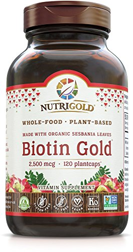 NutriGold Whole-Food Biotin Gold, 2,500 mcg, 120 Plantcaps - Biotin 2500 Mcg