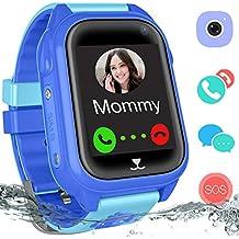 Waterproof GPS Tracker Watch Kids - IP67 Water-Resistant Smartwatches Phone GPS/LBS Locator SOS Camera Voice Chat Games Back to School Children Boys Girls (05 Blue GPS)