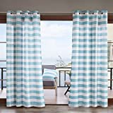 Madison Park Percee Printed Cabana Stripe 3M Scotchgard Outdoor Panel Aqua 54x95