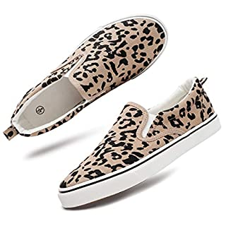 Women's Slip On Shoes Fashion Canvas Sneakers Loafers Casual Shoes (US11, Leopard)