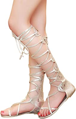 Just Shoe Knee-Length Lace Up Gladiator