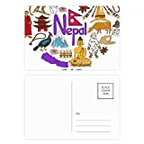 Nepal Love Heart Landscap National Flag Postcard Set Birthday Thanks Card Mailing Side 20pcs
