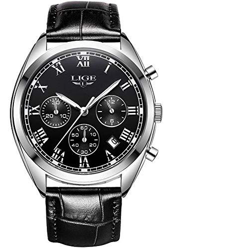 LIGE 9904 - Reloj analógico de Cuarzo con Correa de Piel para Hombre: Amazon.es: Relojes