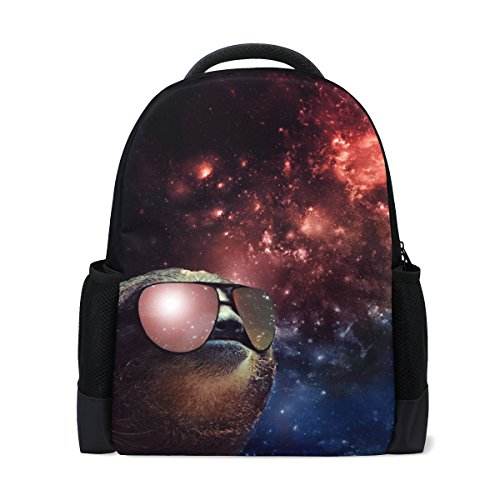 Donnapink Cute Galaxy Sloth Wearing Sunglasses School Backpacks For Students Kids Teens Boys Girls Children ()