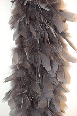 "80 Gram Chandelle Feather Boa - DARK GREY 2 Yards (72"" Boa)"