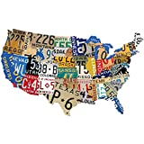 """Past Time Signs (PS197) License Plate USA Map Die-Cut Steel Sign 19"""" x 13"""""""