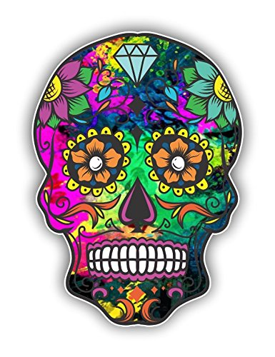 Vinyl Junkie Graphics Sugar Skull Sticker Dia de Los Muertos Decal Mexican Day of The Dead Stickers for Notebook car Truck Laptop Many Color Options (Hot Pink Green)