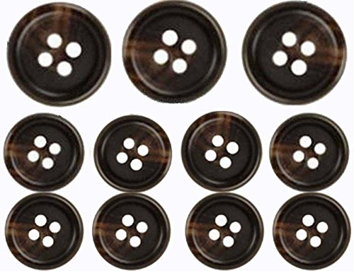 Brown, Premium Suit Buttons Set (11 Pieces) (Brown Button Horn)