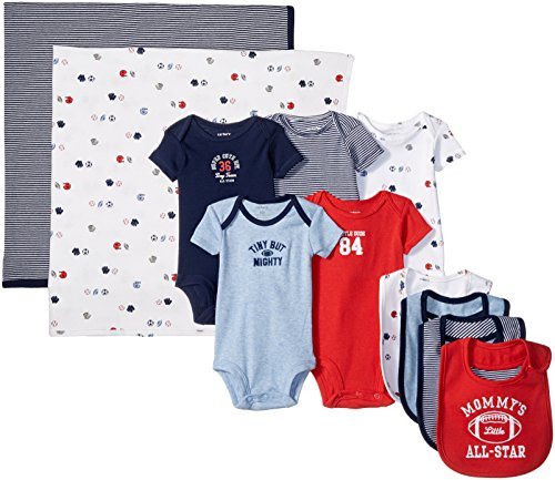 Carter's Boys' 11-Piece Bodysuit, Bib, and Blanket Set, Blue Sports, Newborn