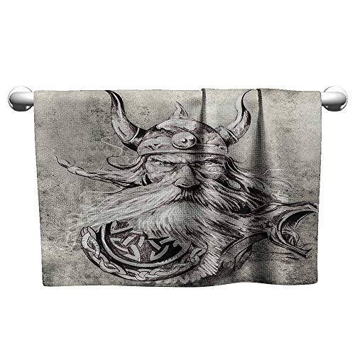 alisoso Tattoo,Decorative Towels Artistic Pencil Drawing of a Brave Viking Warrior with Armour Image Adventure Quick Dry Towel Grey and White W 28