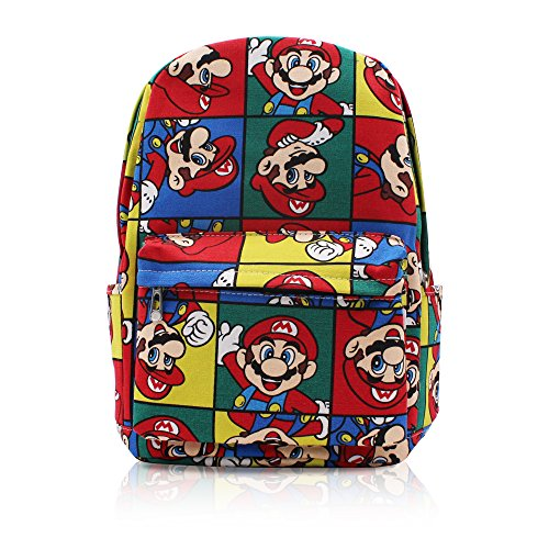 Price comparison product image Finex Multicolored Super Mario Brother Bros Canvas Backpack with Laptop storage compartment for School College Daypack Causal Travel Bag