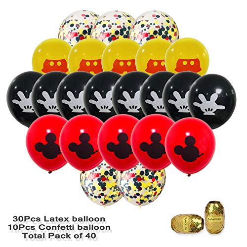 40 Pack Mickey Mouse Balloons,12 inch Latex Balloons Red Black Yellow Mickey Color Confetti Balloons Kit for Baby Bbay Party Baby Shower Mickey Mouse Theme Party Supplies -