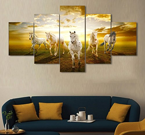 Christmas Paintings - Modern Wall Art Horses Painting The Picture Prints On Canvas Animal Pictures For Living room Home Decor Decoration Christmas Gift Stretched By Wooden Framed 60''W x 32''H