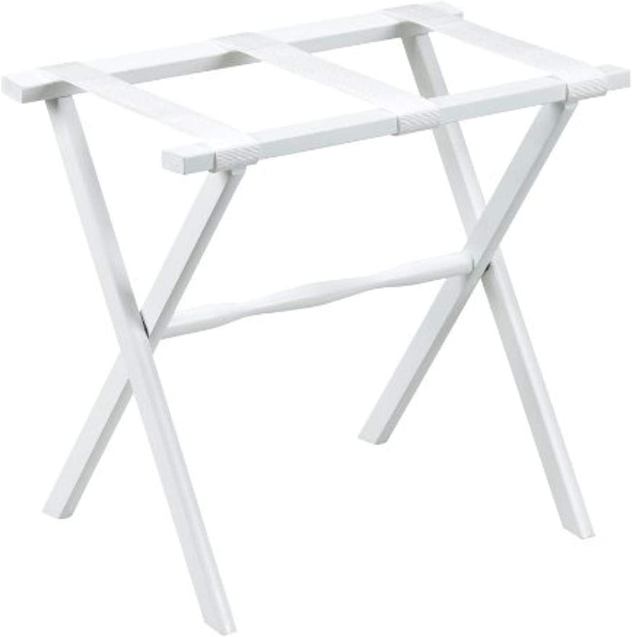 Gate House Furniture Item White Straight Leg Luggage Rack with 3 White Nylon Straps 23 by 13 by 20-Inch