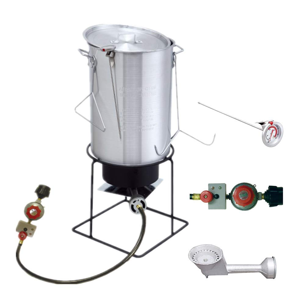 VIGIND Heavy Duty Welded Outdoor Cooker,29 Qt Aluminum Turkey Fryer Pot Kit with Lid