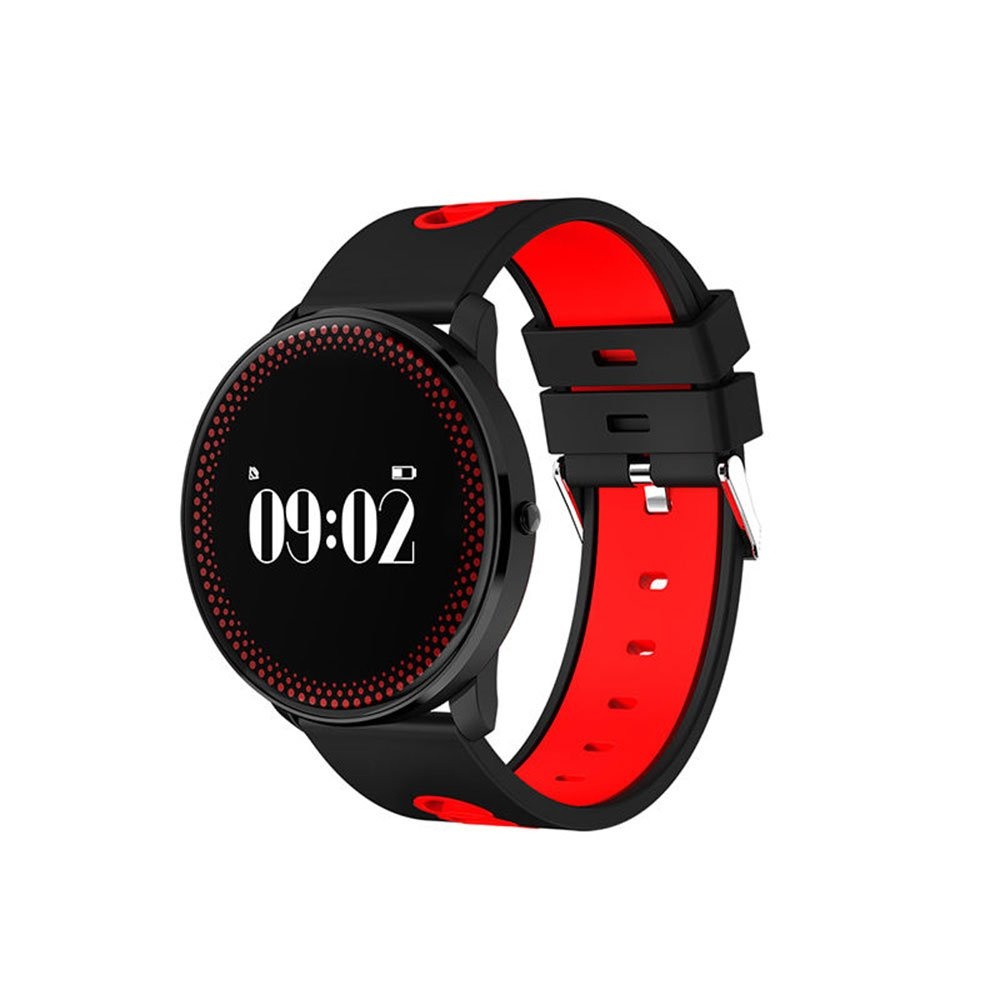 Auntwhale IP68 Waterproof Smart Watch Blueteeth, Android,IOS,Information Push, Heart Rate Blood Oxygen Monitoring, Pedometer, Calories, Sleep Monitoring - Red