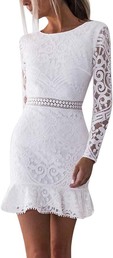 Vestidos para Mujer,Elegante Vestido de Novia de Encaje Vestidos de Boda del cordón Fiesta Vestidos Vestido de Cóctel Vestido de Noche Moda Slim Fit Corta Sexy Vestidos vpass: Amazon.es: Ropa y accesorios
