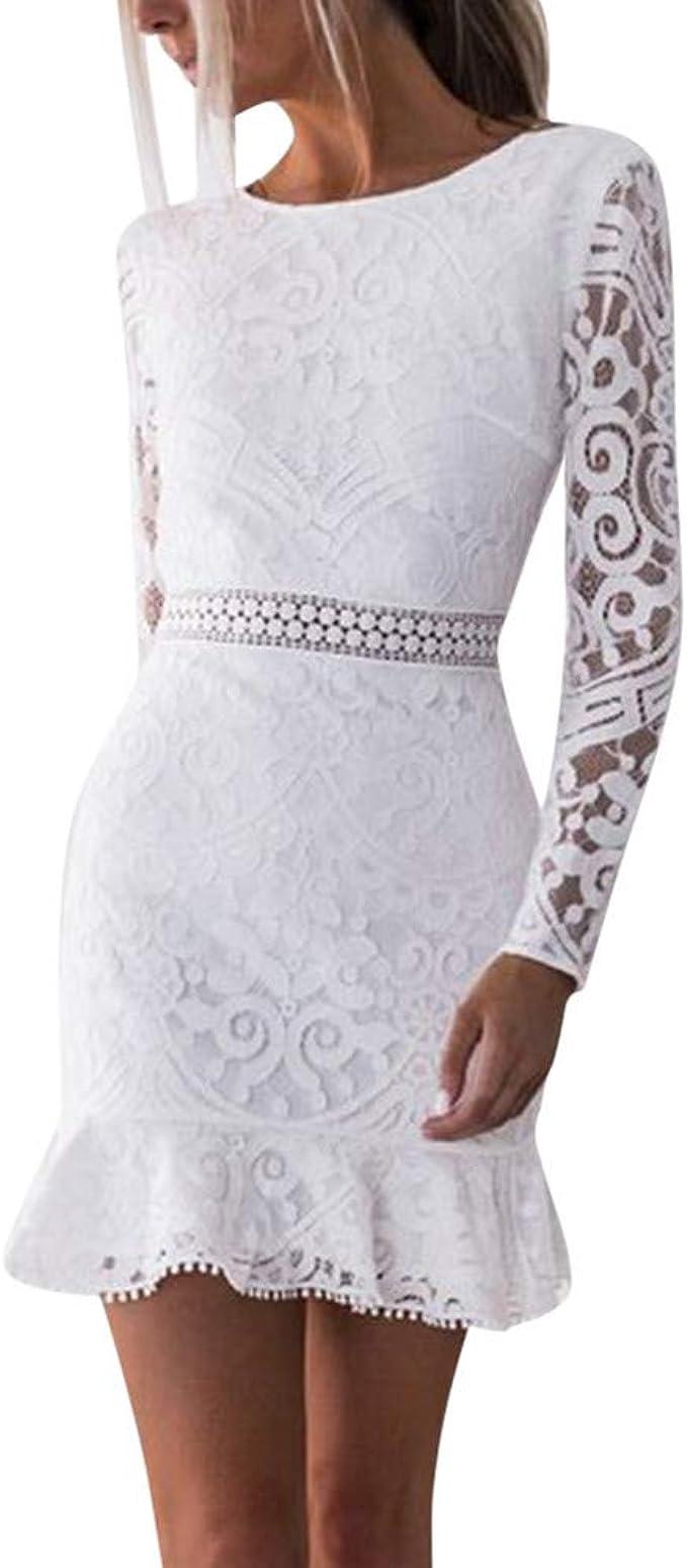 Lenfesh Kleid mit Spitze Damen Kleid Weiß Schöne Spitzenkleider