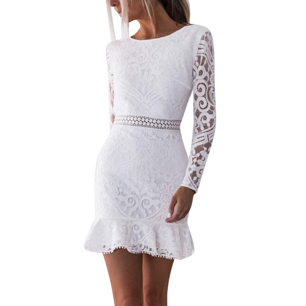 chengzhijianzhu Womens Solid O-Neck Lace Patchwork Long Sleeve Backless Party Bandage Mini Waistline Bodycon A line Sundress White