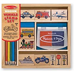 Melissa & Doug Wooden Stamp Set: Vehicles - 10 Stamps, 5 Colored Pencils, 2-Color Stamp Pad