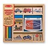 Arts & Crafts : Melissa & Doug Wooden Stamp Set: Vehicles - 10 Stamps, 5 Colored Pencils, 2-Color Stamp Pad