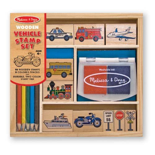 Melissa & Doug Wooden Stamp Set: Vehicles - 10 Stamps, 5 Colored Pencils, 2-Color Stamp Pad Doug Stamp Set