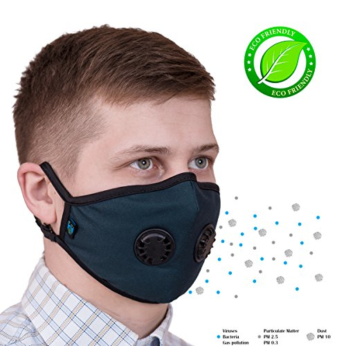 ToRespire Pollution Mask Military Grade Protection N99 N95 Anti Dust w/Antiviral Filters Reusable & Washable Face Respirator w/Adjustable Head Straps for Men Women by ToRespire