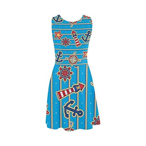 Summer Dress D Lighthouse Anchor Sleeveless Story Sundress Women Stars Dress Women qSwqpnCxz1