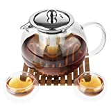 glass and bamboo tea kettle - Glass Teapot Kettle w/Stainless Steel Tea Infuser 33.8oz for Loose Leaf Tea + 2 Glass Tea Cups + Japanese Bamboo Tray | Microwave & Stovetop Safe by Tynx