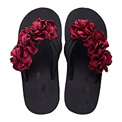 Summer Slippers Women Fashion Flip Flops Platform Beach Sandals Handmade Ladies Flowers Wedge Jelly Brown