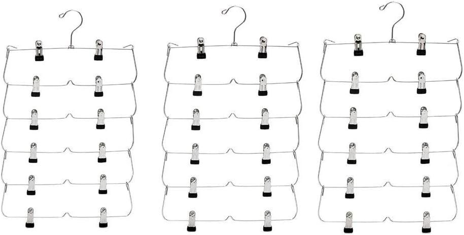 armario jeans Paquete de 3 perchas para pantalones de 6 niveles con clips Perchas de metal para falda Percha de m/últiples capas para pantalones armario organizadores de armario ahorro de espacio