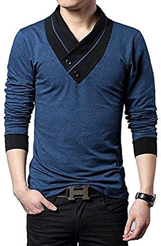 Fashion Gallery Mens Full Sleeve Cotton Tshirts| Mens Tshirts for Mens|Navy Blue Tshirts