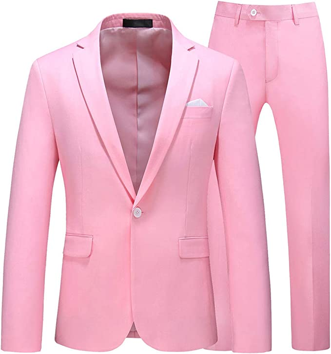 UNINUKOO Mens Slim Fit 2 Piece Single Breasted Jacket Party ...