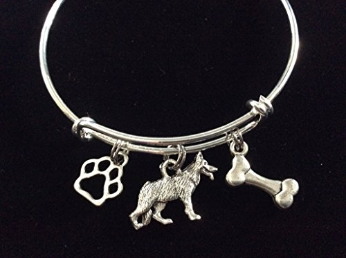 German Shepherd Dog with Bone and Paw Print Expandable Charm Bracelet