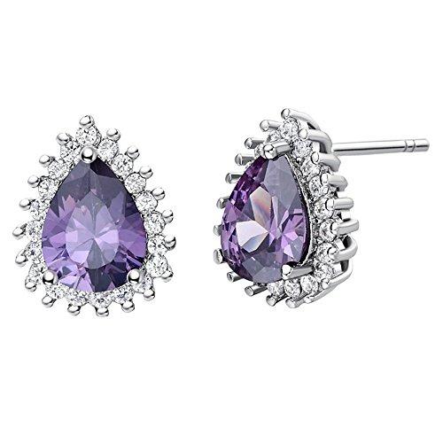 Uloveido Women Purple Studs Earrings White Gold Plated, Platinum Plated Teardrop Earrings Studs for Mom Girls Girlfriend Jewelry Gift (Purple) R815