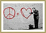 Alonline Art - Peace Love Doctor Banksy Gold Framed Poster (Print on 100% Cotton Canvas on Foam Board) - Ready to Hang | 29''x20'' | Frame Framed Art for Living Room Framed Wall Art for Home Decor