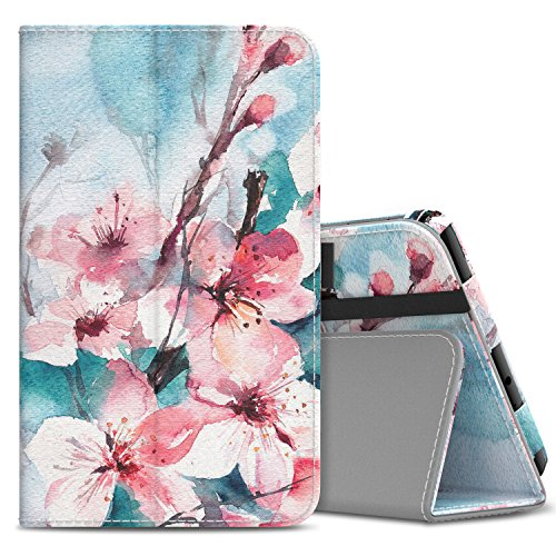 MoKo Samsung Galaxy Tab A 8.0 2017 Case - Slim Folding Stand Cover Case with Handle Strap for Galaxy Tab A 8.0 (SM-T380 / T385) 2017 Release (NOT FIT 2015 Tab A 8.0 SM-T350/P350), Peach Blossom