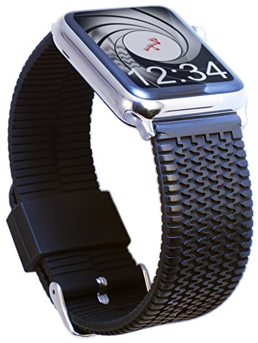 Extreme Xxl Bars - Apple Watch Band 42mm Med/Large TIRE TREAD Rubber iWatch Band- Black Silicone Sport Strap, Stainless Steel Buckle and Adapters for Apple Watch Series 1, 2, New 3, Sport, Nike+ by Carterjett (42 M/L)
