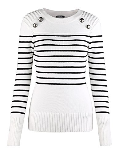 OUGES Women's Long Sleeve Striped Knit Pullover Sweater(White,XL) (Winter Sweater Striped)