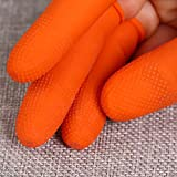 100pcs Large Reusable ESD Latex Finger Cots, (Pack of 100) Anti-Static Dissipative, 14 Mil Thick, Industrial Grade, Heavy Duty Grip, Large (Orange)