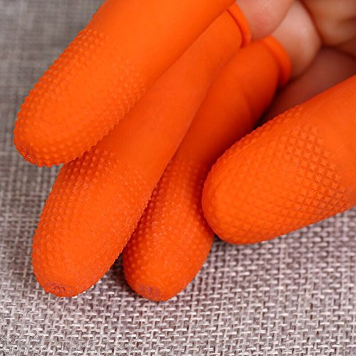 100pcs Large Reusable ESD Latex Finger Cots, (Pack of 100) Anti-Static Dissipative, 14 Mil Thick, Industrial Grade, Heavy Duty Grip, Large (Orange) by UNCLMY (Image #8)