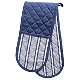 DII Cotton Stripe Quilted Double Oven Mitt, 35 x 7.5, Machine Washable and Heat Resistant Kitchen Moppine for Everyday Cooking and Baking-French Blue
