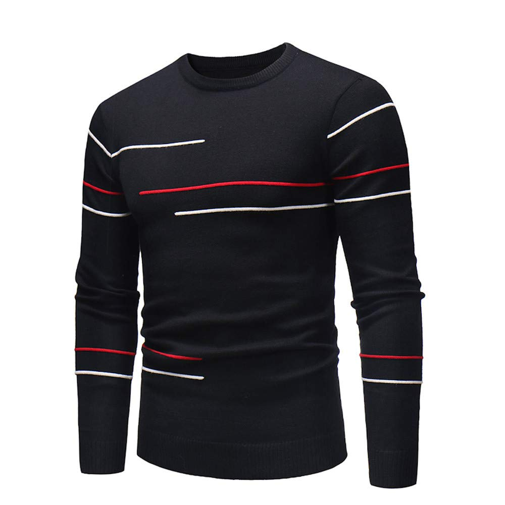 POQOQ Tops Mens Casual Slim Fit Pullover Sweaters Round Neck Knitted Long Sleeve