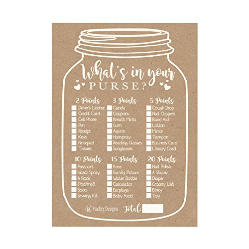 25 Kraft Rustic What's In Your Purse Baby Shower Game, Funny Ideas Coed Couples Game For Baby Party, Fun Woodland Themed Bundle Pack of Cards To Play at Boy or Girl Gender Decoration and Supplies for $<!--$12.99-->