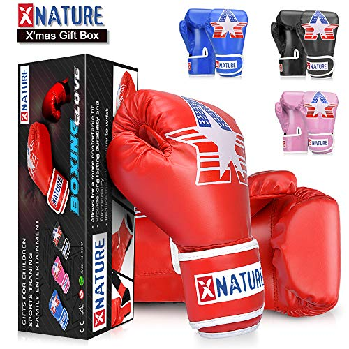 Xnature 4oz 6oz 8oz PU Kids Boxing Gloves w/Gift Box Children Cartoon MMA Kickboxing Sparring Youth Boxing Gloves Training Gloves Age 5-12 Years