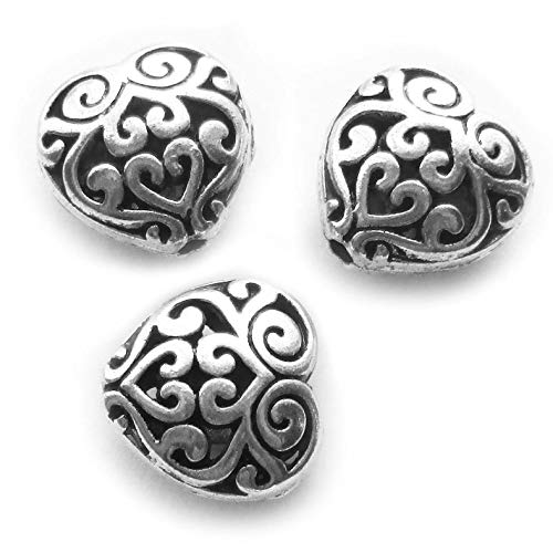 - Heather's cf 20 Pieces Silver Tone Hollow Heart Flat Beads DIY Charms Pendants
