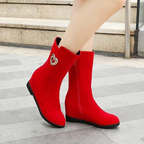 Latasa Donna Autunno Inverno Corto Interno Zeppa Stivali Di Camoscio Rosso