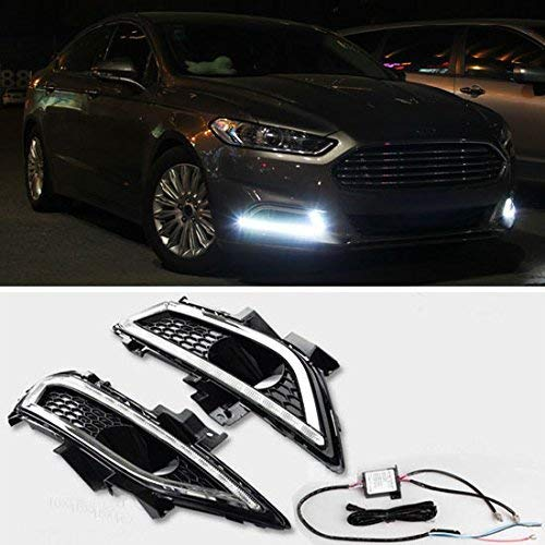 iJDMTOY Xenon White LED Daytime Running Light Fog Lamp Kit For 13-16 Ford Fusion, Includes (2) Exact Fit LED DRL Bezel Assemblies & Module Box, Each Lamp Powered by (16) High Power Osram LED Lights